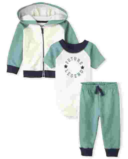 Baby Boys Long Sleeve Colorblock Zip Hoodie Short Sleeve Future Legend Bodysuit and Knit Pants 3-Piece Playwear Set