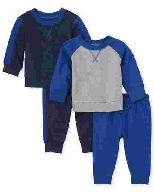 Conjunto de ropa de juego de 4 piezas con sudaderas de felpa francesa de manga larga y pantalones de punto para bebés varones
