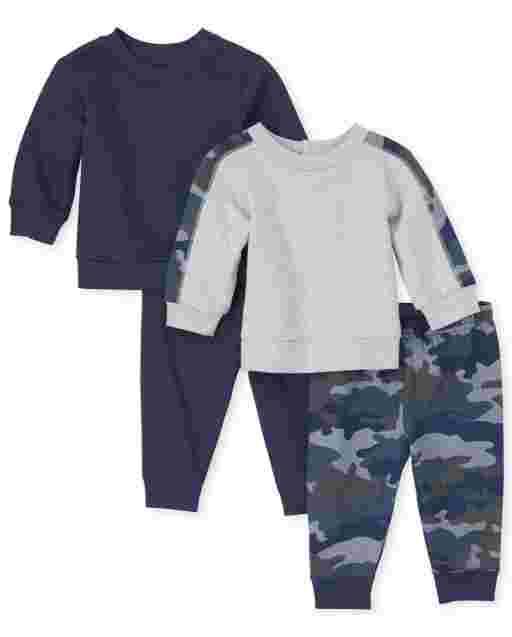 Conjunto de ropa de juego de 4 piezas de camuflaje con sudaderas de felpa francesa de manga larga y pantalones de punto para bebés varones