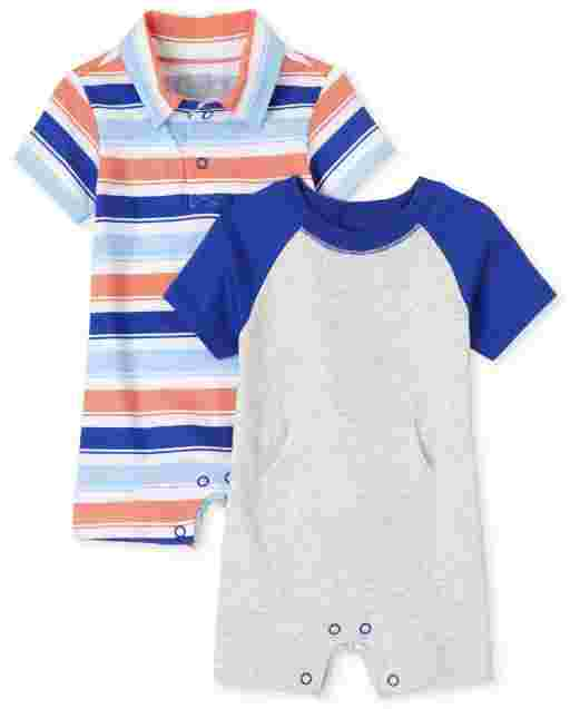 Baby Boys Short Sleeve Striped Romper 2-Pack
