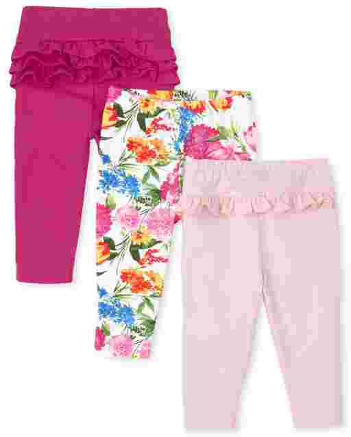 Baby Girls Floral And Ruffle Knit Leggings 3-Pack