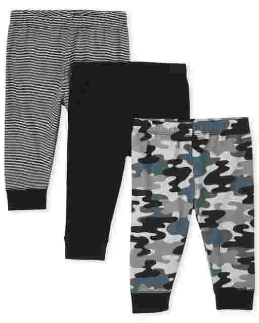 Baby Boys Camo Solid And Striped Knit Pants 3-Pack