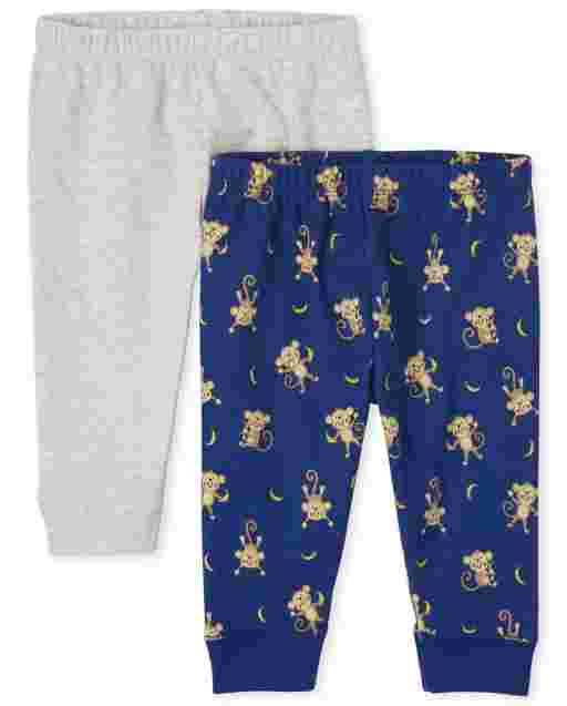 Baby Boys Monkey And Solid Knit Pants 2-Pack