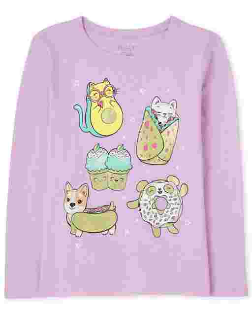 Camiseta estampada Food Squishies de manga larga para niñas