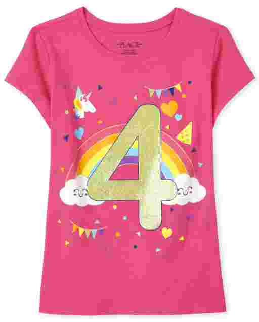 Girls Short Sleeve Birthday Glitter '4' Graphic Tee