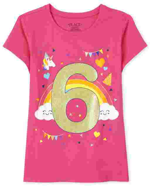 Girls Short Sleeve Birthday Glitter '6' Graphic Tee
