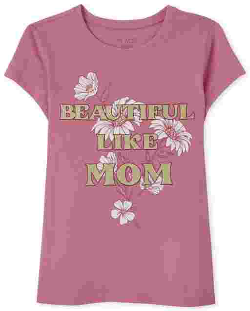 Girls Short Sleeve 'Beautiful Like Mom' Graphic Tee