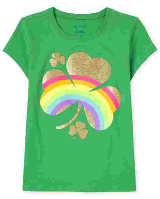 Girls St. Patrick's Day Short Sleeve Foil Rainbow Shamrock Graphic Tee