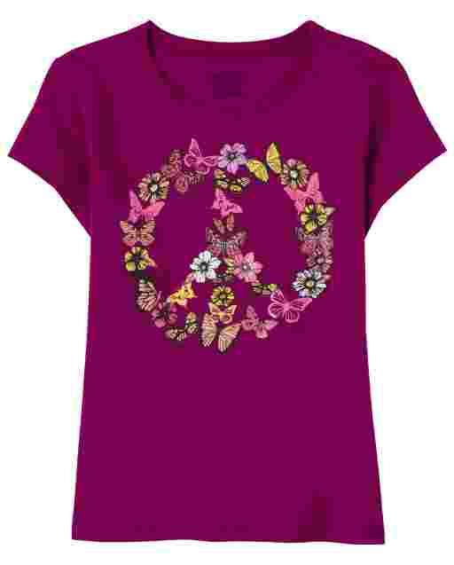 Camiseta con estampado de paz de manga corta para niñas