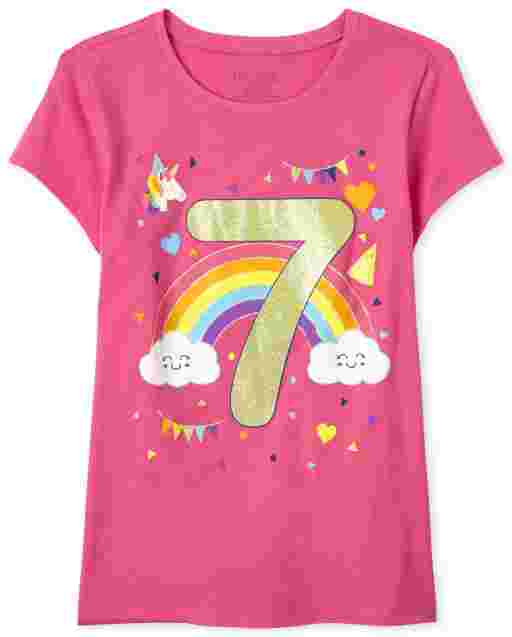 Girls Short Sleeve Birthday Glitter '7' Graphic Tee