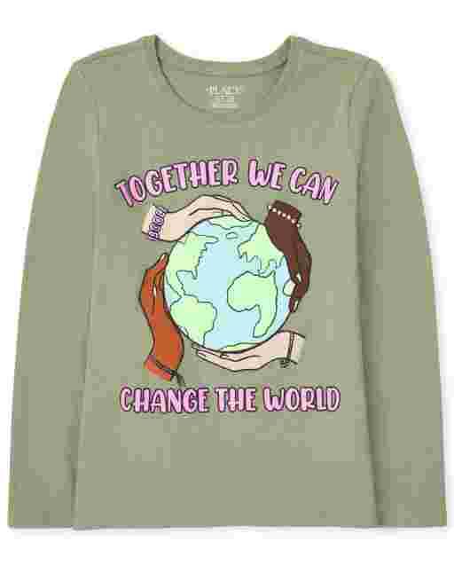 Camiseta estampada de manga larga para niñas ' juntos podemos cambiar el mundo '