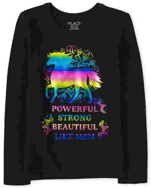 Girls Long Sleeve 'Powerful Strong Beautiful Like Mom' Graphic Tee