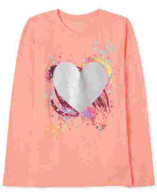 Camiseta con estampado de corazones de manga larga para niñas