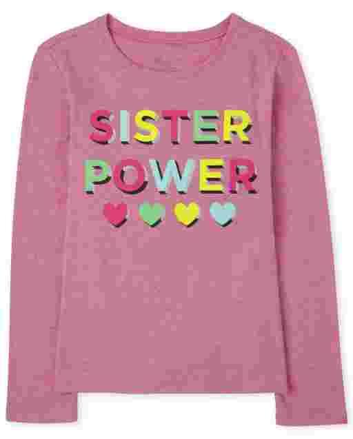 Camiseta estampada ' Sister Power ' manga larga para niñas