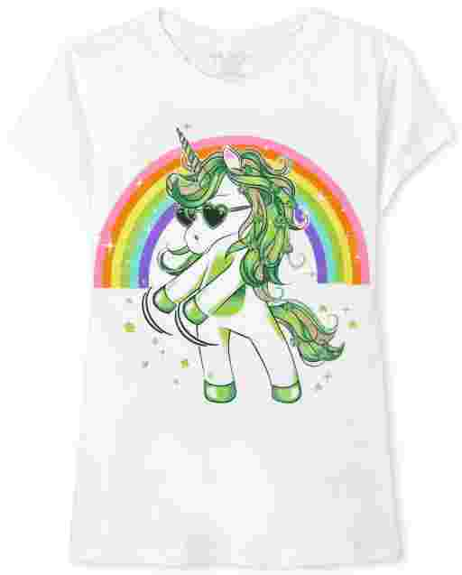 Girls St. Patrick's Day Short Sleeve Dancing Unicorn Graphic Tee