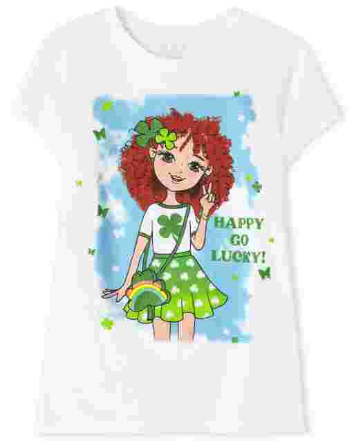 Girls St. Patrick's Day Short Sleeve 'Happy Go Lucky' Graphic Tee