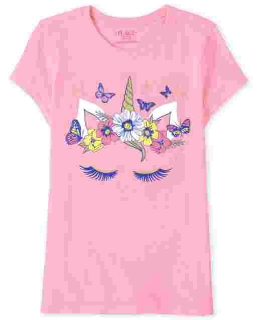 Girls Short Sleeve Floral Unicorn Graphic Tee