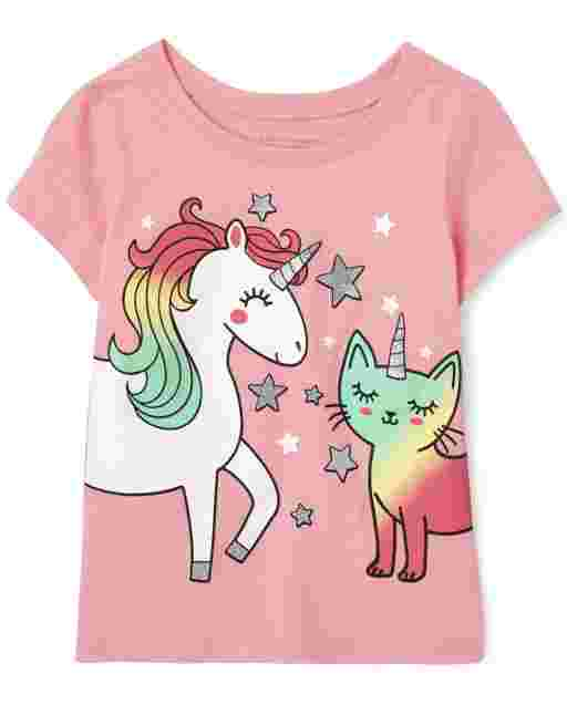 Baby And Toddler Girls Short Sleeve Unicorn And Caticorn Graphic Tee