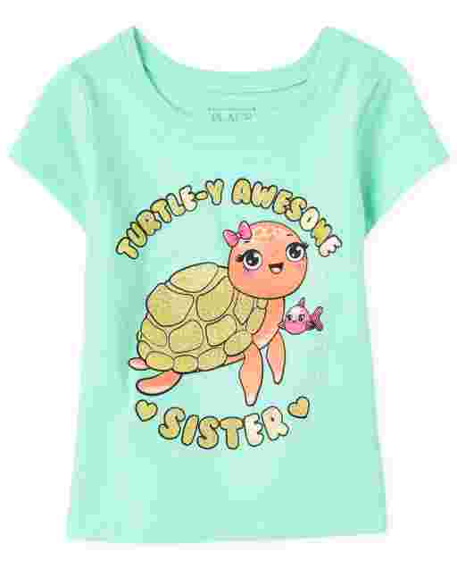 Baby And Toddler Girls Short Sleeve 'Turtle-y Awesome Sister' Graphic Tee