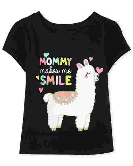Baby And Toddler Girls Short Sleeve 'Mommy Makes Me Smile' Llama Graphic Tee