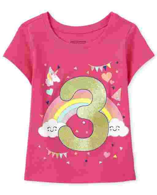 Baby And Toddler Girls Short Sleeve Birthday Glitter '3' Graphic Tee