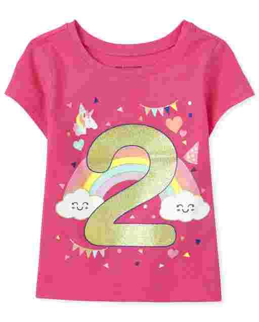 Baby And Toddler Girls Short Sleeve Birthday Glitter '2' Graphic Tee