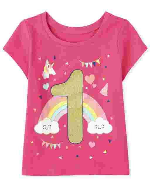 Baby And Toddler Girls Short Sleeve Birthday Glitter '1' Graphic Tee