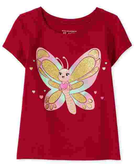 Camiseta con estampado de mariposa brillante de manga corta para bebés y niñas pequeñas