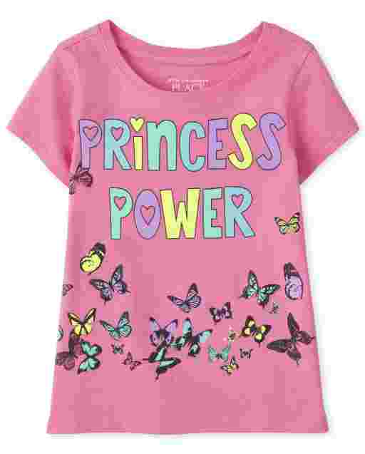 Baby And Toddler Girls Short Sleeve 'Princess Power' Butterfly Graphic Tee