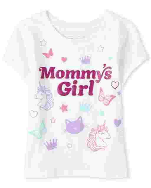 Camiseta estampada de manga corta para bebés y niñas pequeñas ' Mommy ' s Girl '