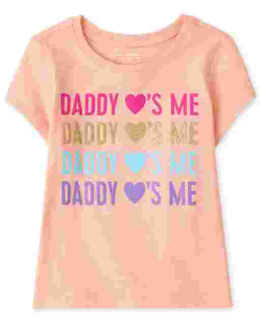 Baby And Toddler Girls Short Sleeve 'Daddy Loves Me' Graphic Tee