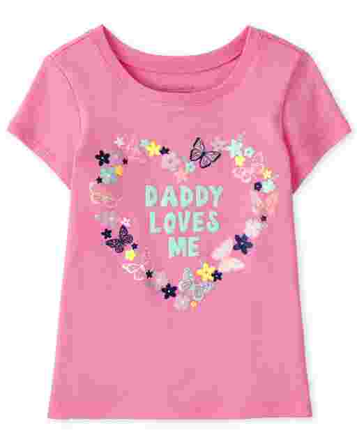 Baby And Toddler Girls Short Sleeve 'Daddy Loves Me' Butterfly Heart Graphic Tee