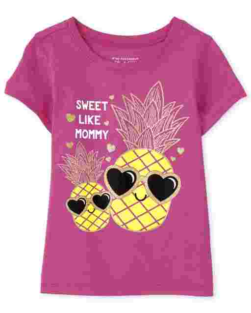 Baby And Toddler Girls Short Sleeve 'Sweet Like Mommy' Pineapple Graphic Tee