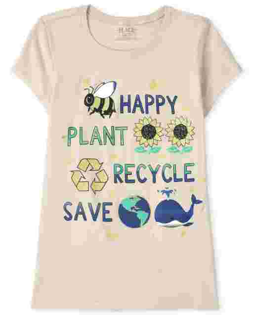 Girls Short Sleeve 'Happy Plant Recycle Save' Graphic Tee