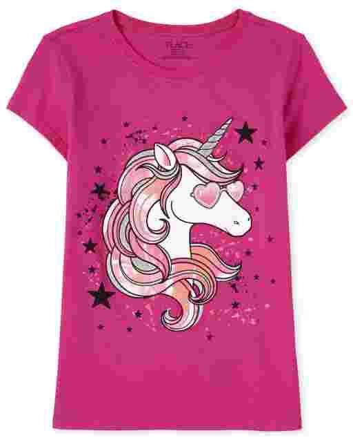 Camiseta con estampado de estrellas de unicornio de manga corta para niñas