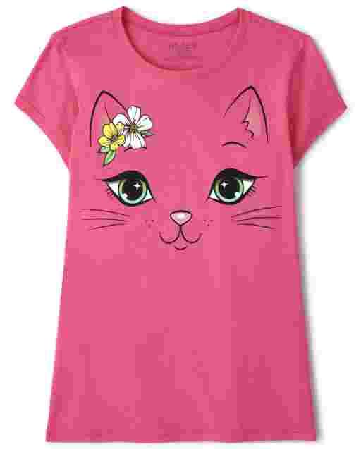 Girls Short Sleeve Cat Graphic Tee
