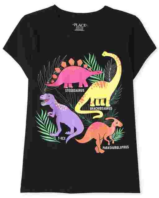Camiseta con gráfico de dinosaurio de manga corta para niñas