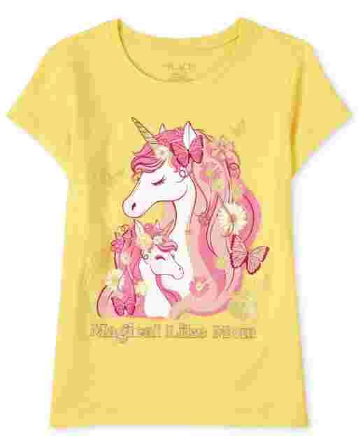 Girls Short Sleeve 'Magical Like Mom' Unicorn Graphic Tee