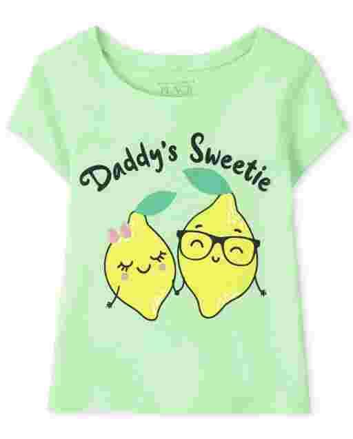 Camiseta de manga corta para bebés y niñas pequeñas ' Daddy ' s Sweetie ' Lemon Graphic Tee