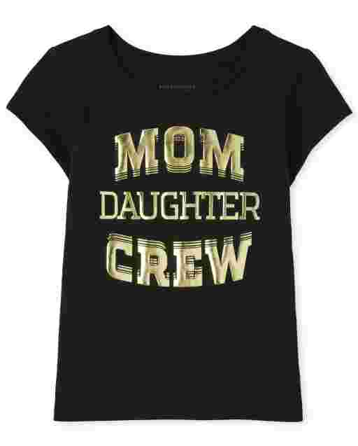 Baby And Toddler Girls Matching Family Short Sleeve 'Mom Daughter Crew' Graphic Tee