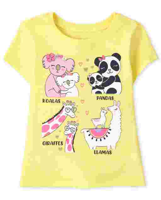 Baby And Toddler Girls Short Sleeve Animals Graphic Tee