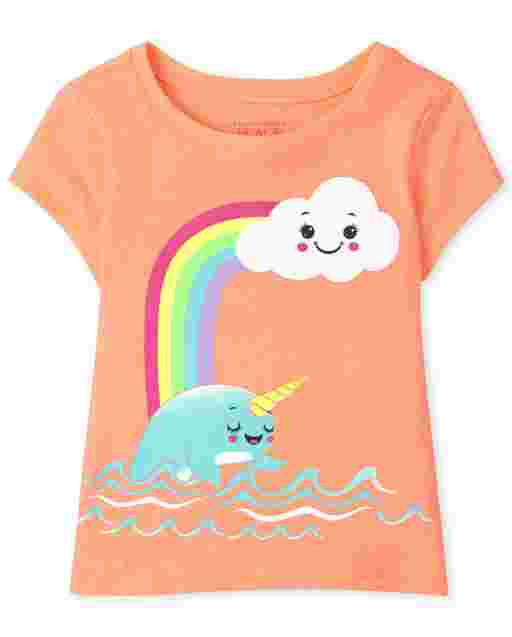 Baby And Toddler Girls Short Sleeve Narwhal Graphic Tee