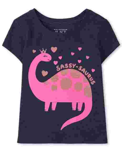 Baby And Toddler Girls Short Sleeve 'Sassy-Saurus' Dino Graphic Tee