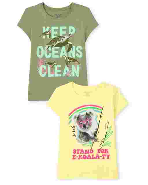 Girls Short Sleeve 'Keep Oceans Clean' Turtles And 'Stand For E-koala-ty' Koalas Graphic Tee 2-Pack