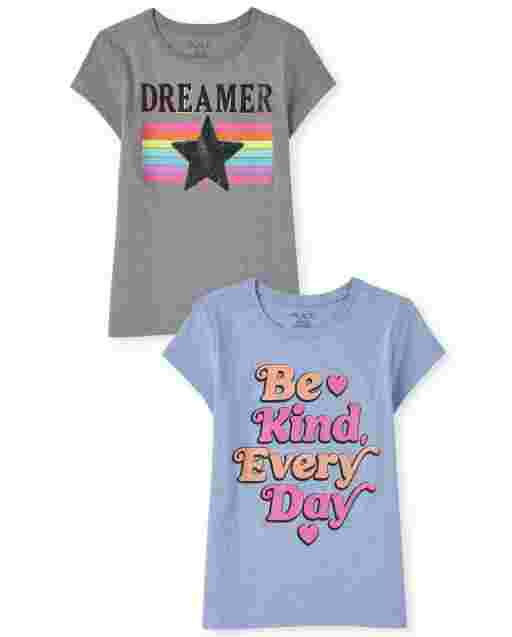 Girls Short Sleeve 'Be Kind Every Day' And 'Dreamer' Graphic Tee 2-Pack