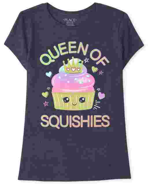 Girls Short Sleeve 'Queen Of Squishies' Graphic Tee