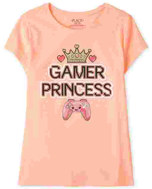 Girls Short Sleeve 'Gamer Princess' Graphic Tee