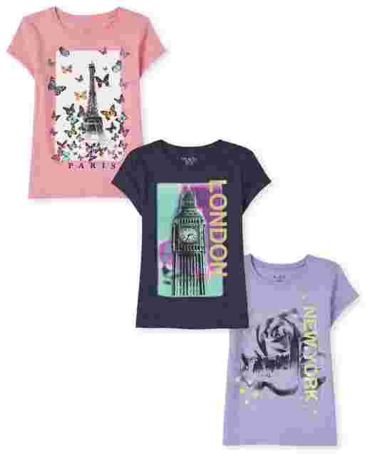 Girls Short Sleeve City Graphic Tee 3-Pack