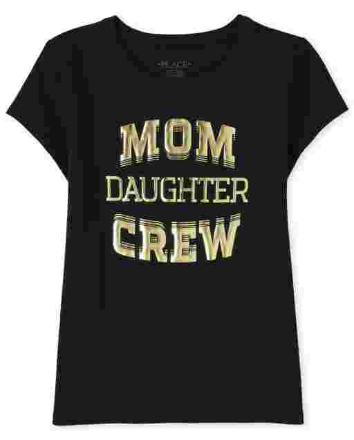 Girls Matching Family Short Sleeve 'Mom Daughter Crew' Graphic Tee