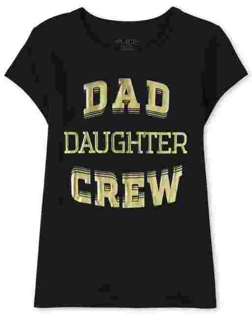 Girls Matching Family Short Sleeve 'Dad Daughter Crew' Graphic Tee